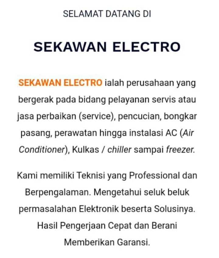 Jasa Service Ac, Kulkas, dan TV Area Bogor, Depok, Tangerang Selatan - Sekawan Elektro