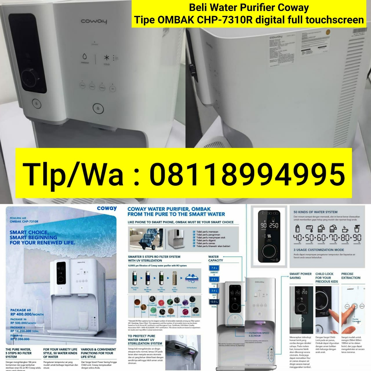 Water purifier coway tipe OMBAK CHP-7310R digital full touchscreen